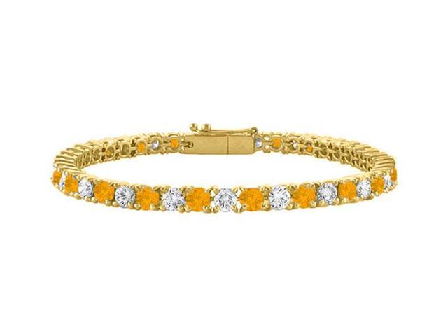 Cubic Zirconia and Citrine Tennis Bracelet in 18K Yellow Gold Vermeil. 2CT. TGW. 7 Inch