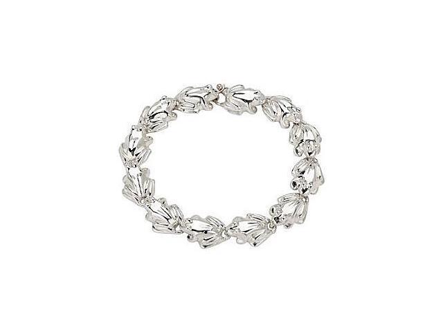 .925 Sterling Silver Rhodium Plating Frog Link Bracelet in 7.50 Inch  Length