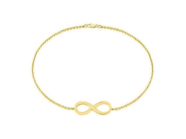 14K Yellow Gold Infinity Bracelet with 7 Inch Cable Chain and a Lobster Clasp