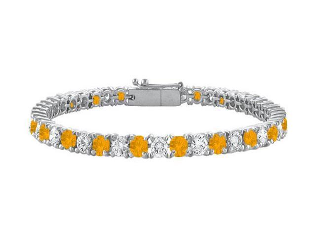 Citrine and Cubic Zirconia Prong Set 10K White Gold Tennis Bracelet 7.00 CT TGW