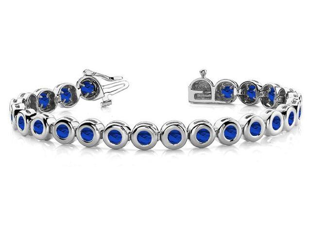 Created Sapphire Tennis Bracelet in 14K White Gold. 10.50 ct.tw.