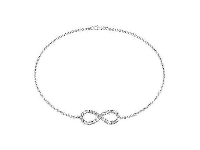 Bracelet Diamond Infinity Knot in White Gold 14K Half Carat Diamonds