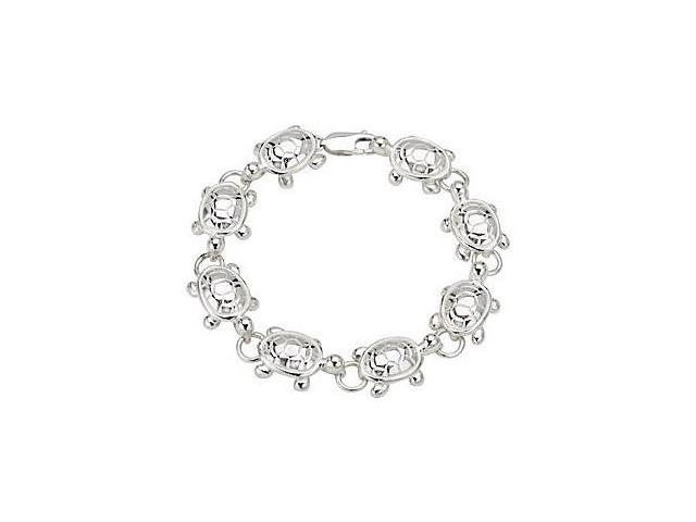 Turtle Link Bracelet in Rhodium Plating .925 Sterling Silver in 7.50 Inch Length