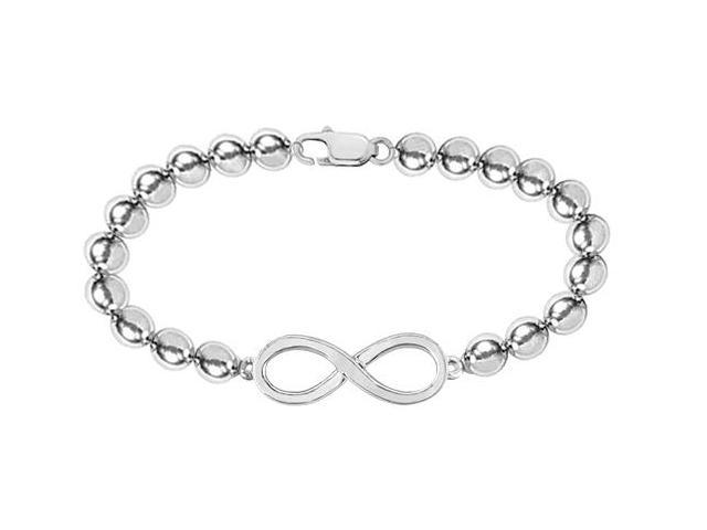 14K White Gold Infinity Bracelet with 4 MM Beads Set on 14K White Gold Chain with Lobster Clasp