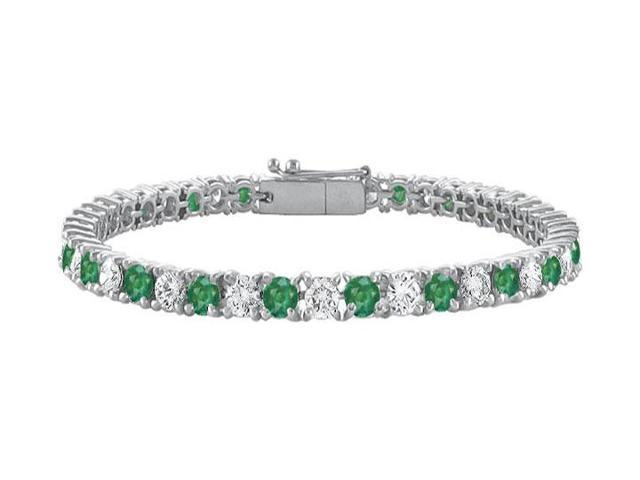 Frosted Emerald and Cubic Zirconia Prong Set 10K White Gold Tennis Bracelet 10.00 CT TGW