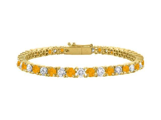 Cubic Zirconia and Citrine Tennis Bracelet in 18K Yellow Gold Vermeil. 4 CT. TGW. 7 Inch