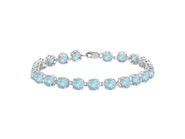 14K White Gold Prong Set Round Aquamarine Bracelet with 12.00 CT TGW