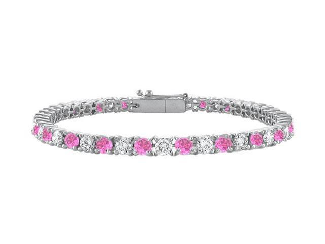 Cubic Zirconia and Created Pink Sapphire Tennis Bracelet in 925 Sterling Silver 7 Inch 1.50 CT T