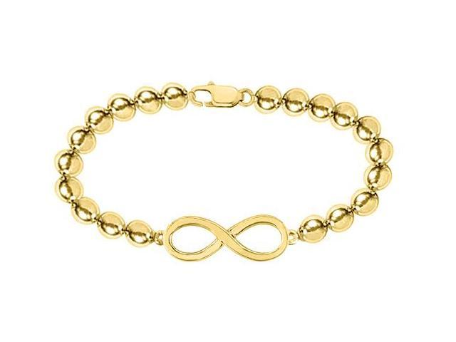 14K Yellow Gold Infinity Bracelet with 4 MM Beads Set on 14K Yellow Gold Chain with a Lobster
