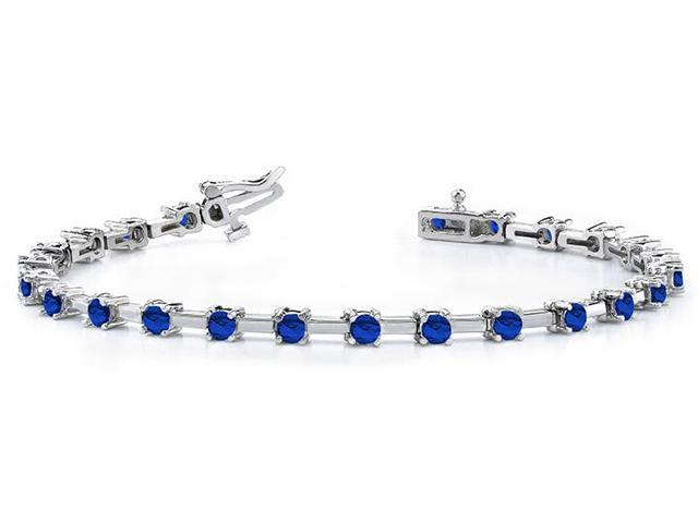 Classic Solid Rectangle Link Created Sapphire Bracelet.10.ct.tw