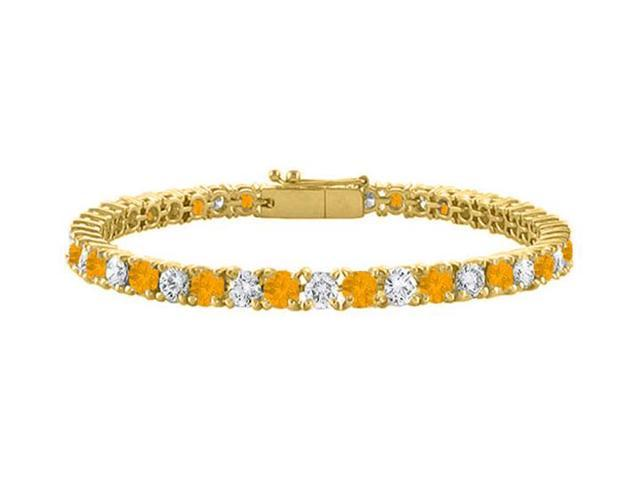 Cubic Zirconia and Citrine Tennis Bracelet in 18K Yellow Gold Vermeil. 5CT TGW. 7 Inch