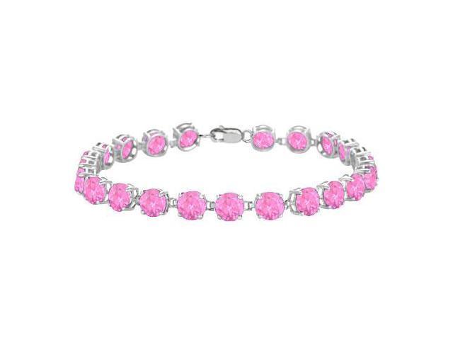 14K White Gold Prong Set Round Pink Topaz Bracelet with 12.00 CT TGW