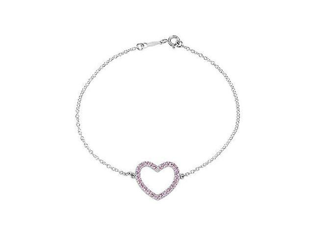 Pink CZ Heart Bracelet in Rhodium Plating .925 Sterling Silver with 7 Inch Chain