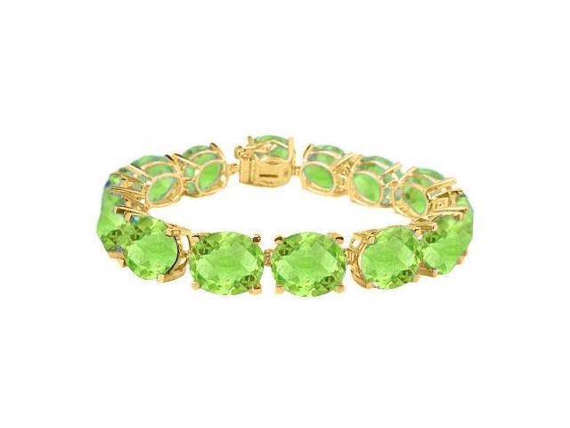 Peridot Tennis Bracelets Oval cut in 18K Yellow Gold Vermeil. 50CT. TGW. 7 Inch