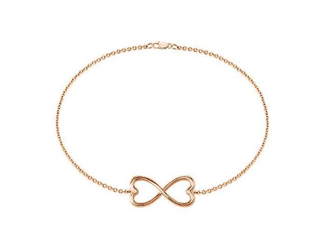 Infinity Bracelet in 14K Rose Gold Double Heart Design with 7 Inch Cable Chain and Lobster Lock