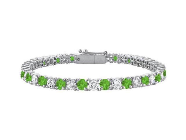 Sterling Silver Round Peridot and Cubic Zirconia Tennis Bracelet 5.00 CT TGW