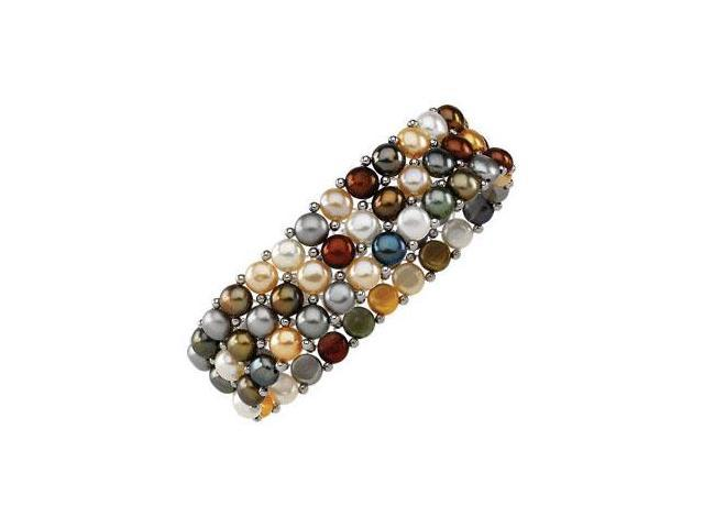 Sterling Silver and Dyed Multicolor Pearl Stretch Bracelet - 6 MM