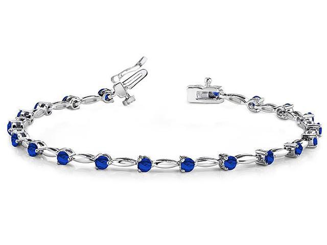 Alternating Created Sapphire Drop Bracelet in 14K white gold. 8.ct.tw