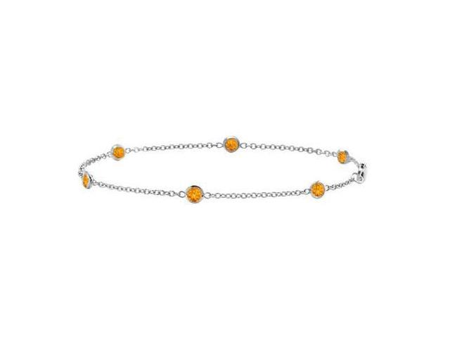 Citrine By the Yard Bracelet in White Gold 14K 7 Inch Length with Total Weight 0.60 Carat