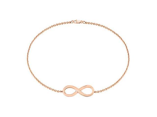 14K Rose Gold Infinity Bracelet with 7 Inch Cable Chain and Lobster Lock
