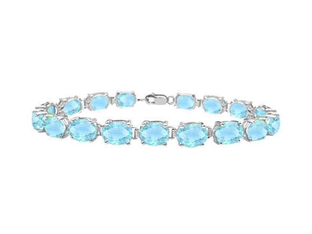 Sterling Silver Prong Set Oval Aquamarine Bracelet with 15.00 CT TGW