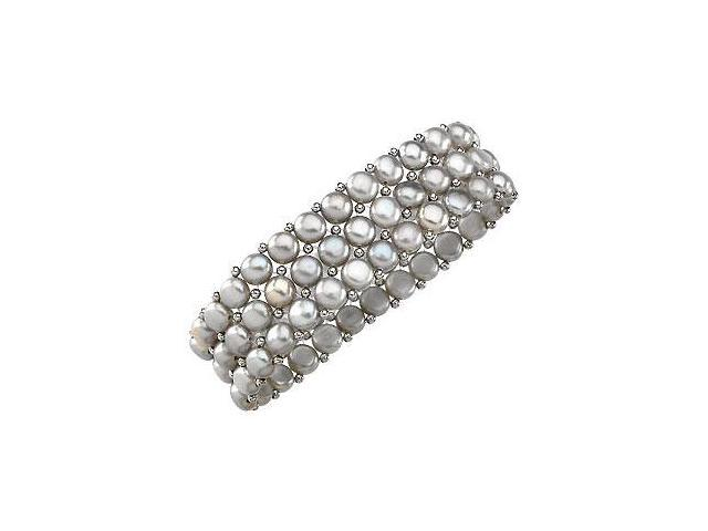 Sterling Silver and Freshwater Silver Grey Pearl Stretch Bracelet - 6 MM