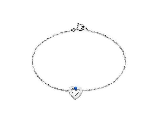 Sapphire Heart Bracelet in 14K White Gold  0.10.ct.tw