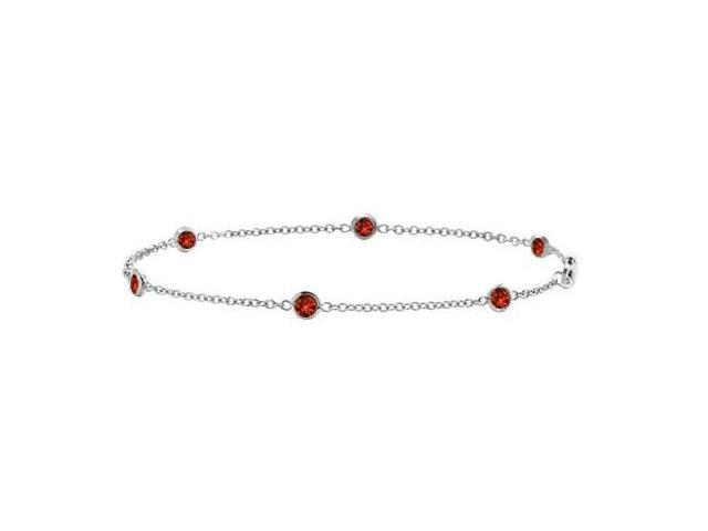 Garnet Bracelet By The Yard Bezel set in 14K White Gold with Total weight 0.60 Carat in 7 Inch