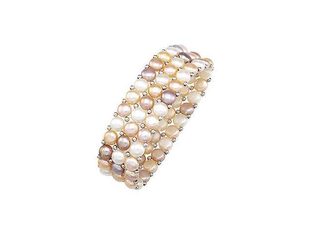 Sterling Silver and Freshwater Natural Multicolor Pearl Stretch Bracelet - 6 MM