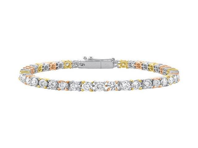 Tennis Bracelet Three Carat Diamonds Complete Diamond Tennis Bracelet in 14K Tri Tone Gold