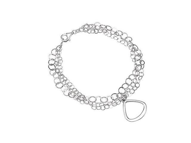 Rhodium Plating .925 Sterling Silver Multi Strand Bracelet with 7.50 Inch Length