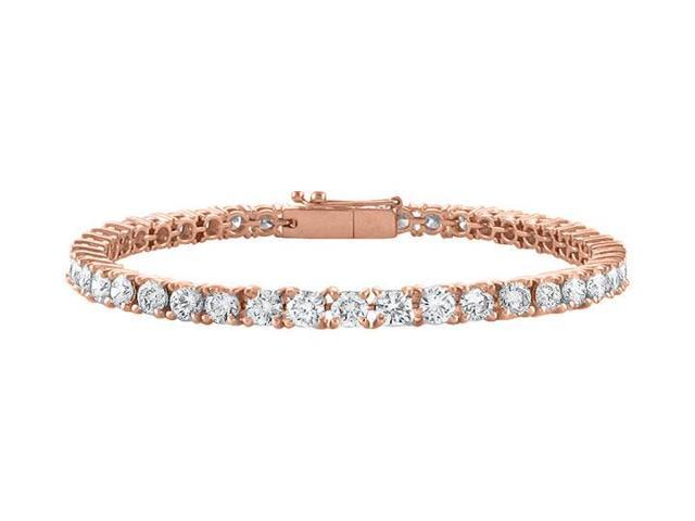 Cubic Zirconia Tennis Bracelet in 14K Rose Gold Vermeil. 4 CT. TGW. 7 Inch
