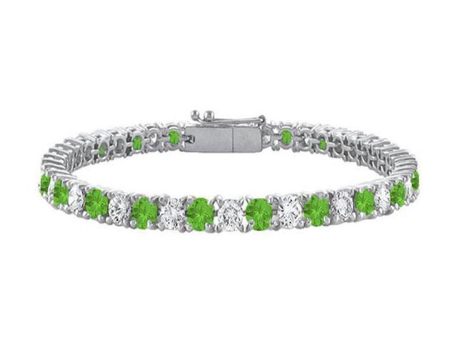 Sterling Silver Round Peridot and Cubic Zirconia Tennis Bracelet 10.00 CT TGW