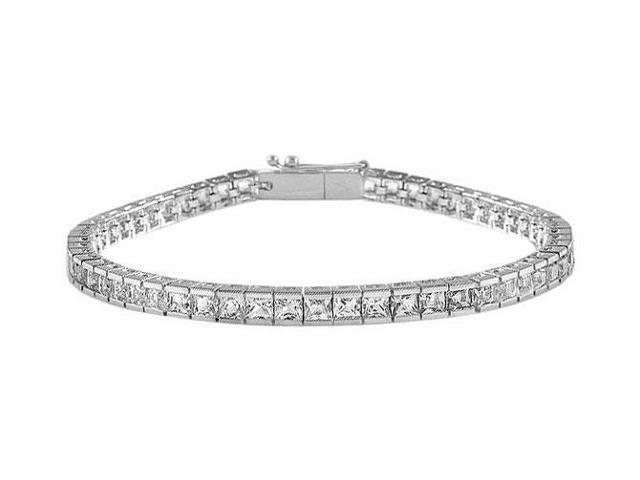 Tennis Bracelet Princess Cut AAA CZ Tennis Bracelet Four Carat Set in 925 Sterling Silver