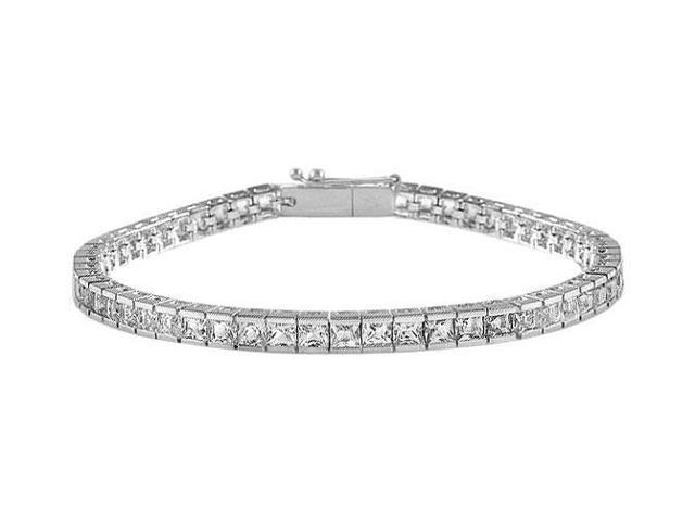 Tennis Bracelet Princess Cut AAA CZ Tennis Bracelet Four Carat Set in 925 Sterling Silver