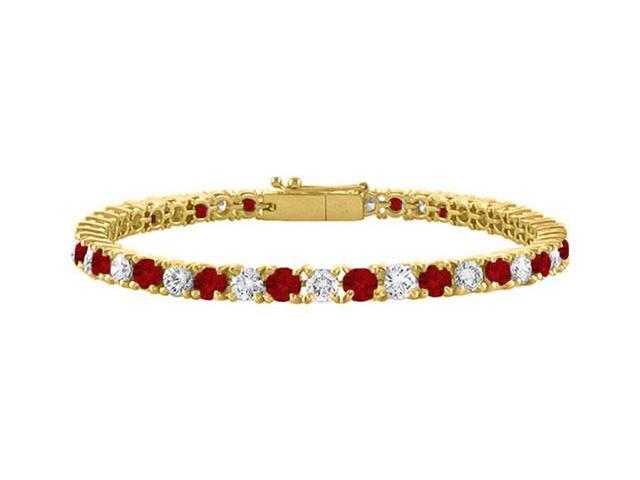 Cubic Zirconia and Garnet Tennis Bracelet in 18K Yellow Gold Vermeil. 3 CT. TGW. 7 Inch