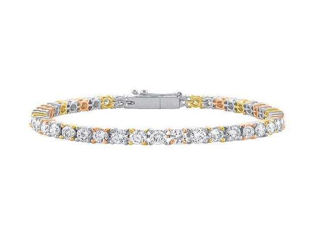 Tennis Bracelet Five Carat Diamonds Complete Diamond Tennis Bracelet in 14K Tri Tone Gold