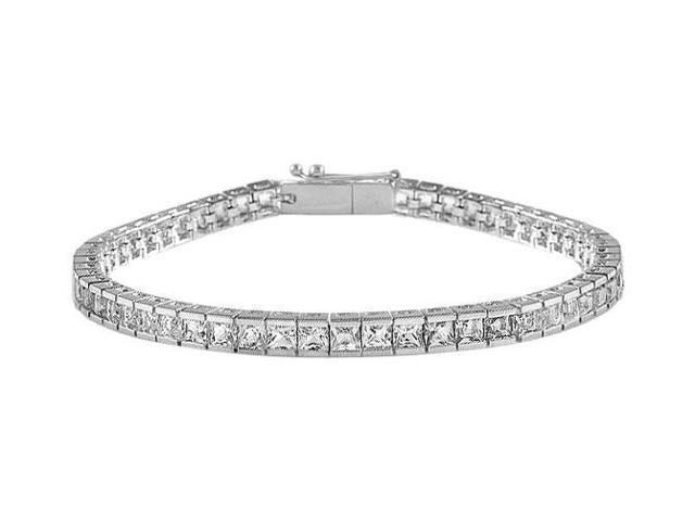 CZ Tennis Bracelet Princess Cut AAA CZ 5 Carat Tennis Bracelet Set in 925 Sterling Silver