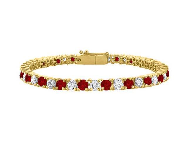 Cubic Zirconia and Garnet Tennis Bracelet in 18K Yellow Gold Vermeil. 4CT. TGW. 7 Inch