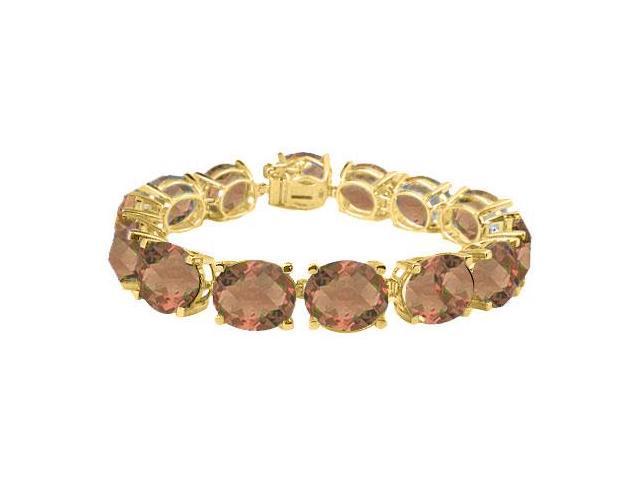 Tennis Bracelet Smoky Quartz Oval Cut in 18K Yellow Gold Vermeil. 50 CT. TGW. 7 Inch