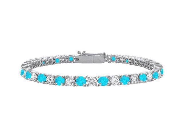 Sterling Silver Round Blue Topaz and Cubic Zirconia Tennis Bracelet 3.00 CT TGW