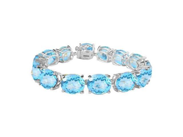 Sterling Silver Prong Set Oval Aquamarine Bracelet with 50.00 CT TGW