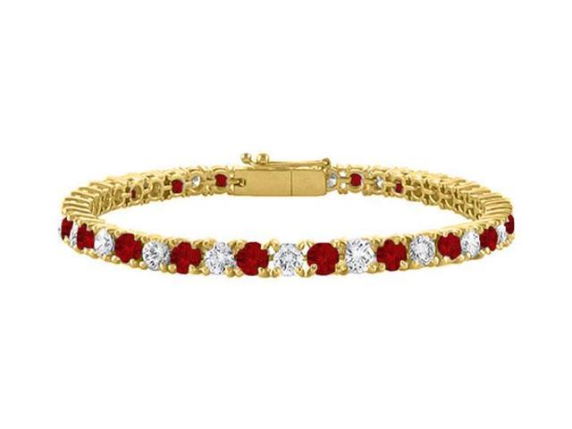 Tennis Bracelet Garnet and Cubic Zirconia in 18K Yellow Gold Vermeil. 5CT. TGW. 7 Inch