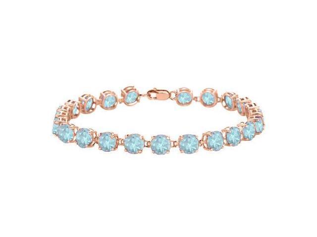 Created Aquamarine Tennis Bracelet in 14K Rose Gold Vermeil. 12 CT. TGW. 7 Inch