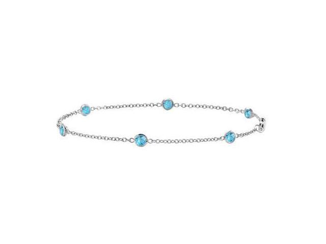 By The Yard Bracelet Link Swiss Blue Topaz with 0.60 Carat in 14K White Gold 7 Inch Length