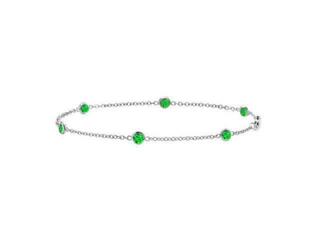 Bracelet Emerald Bezel Set By The yard in 14K White Gold 7 Inch with 0.60 Carat Total Weight