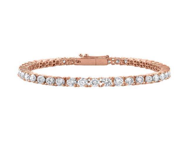 Tennis Bracelet Cubic Zirconia Triple AAA Quality in 14K Rose Gold Vermeil. 10 CT. TGW. 7 Inch