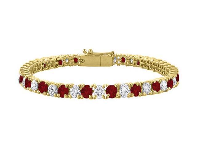 Tennis Bracelet Garnet and Cubic Zirconia in 18K Yellow Gold Vermeil. 7CT. TGW. 7 Inch