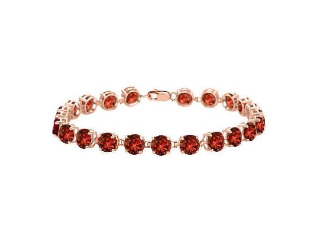 Garnet Tennis Bracelet in 14K Rose Gold Vermeil. 12 CT. TGW. 7 Inch