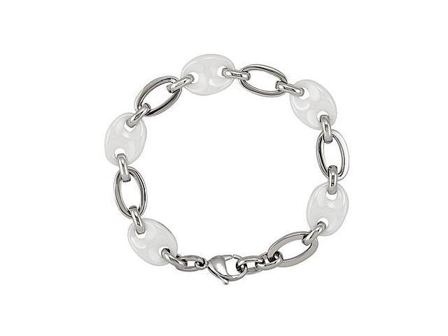 Ceramic Couture and Stainless Steel Bracelet 7.50 Inch Length